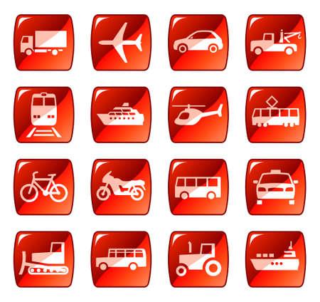 Transport icônes, boutons