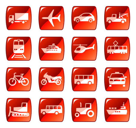 Transportation icons, buttons
