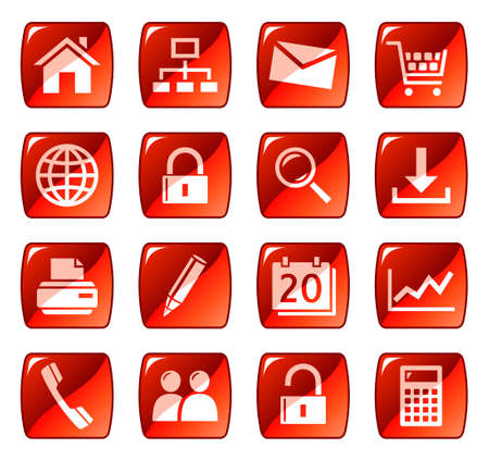 Web icons, buttons. Red series 1