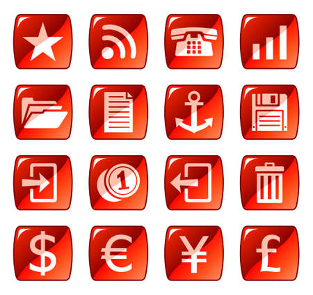 Web icons, buttons. Red series 3 Vector