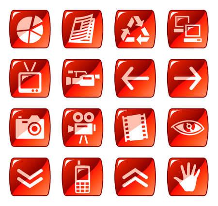 uploading: Web icone, pulsanti. Red serie 4 Vettoriali