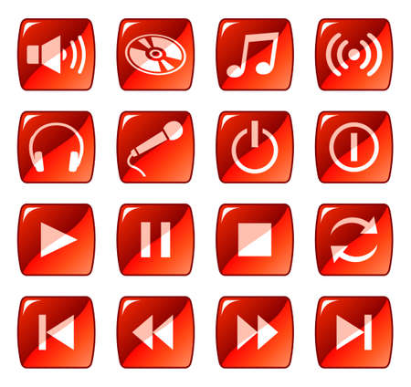 Web icons, buttons. Red series 5 Vector