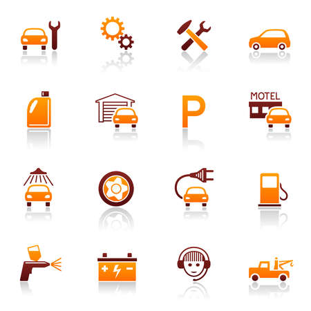 electric automobile: Auto service & repair icons