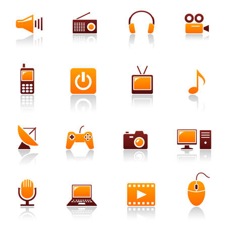 Media & telecom icons Stock Vector - 6814446