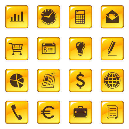 Business icons on web buttons Vector