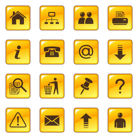 yellow tacks: Web icons on glossy buttons Illustration