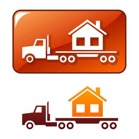 semi truck: Cami�n ofrece la casa  Vectores