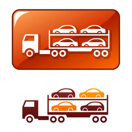 Truck delivers the cars Illustration