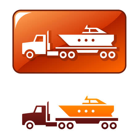 Truck delivers the boat Stock Vector - 8385178
