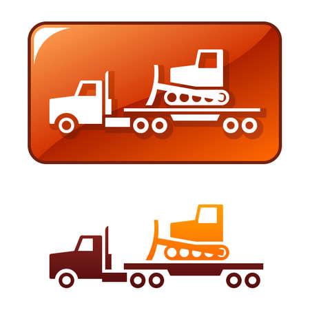 Truck delivers the bulldozer Illustration