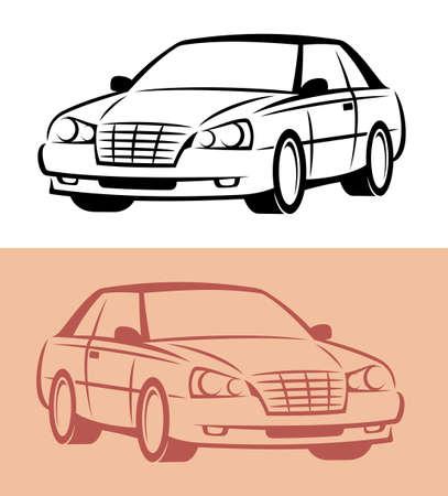 dessin au trait: Ic�ne de style voiture