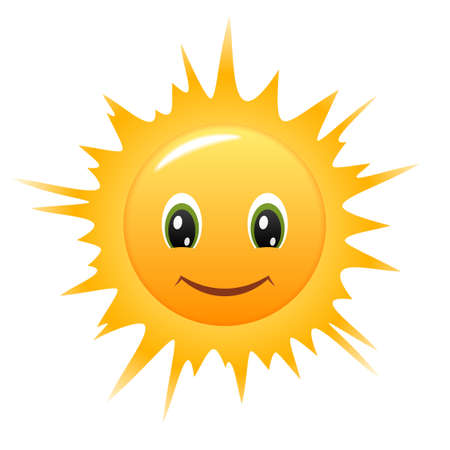 sol caricatura: Sonriendo Sun Vectores