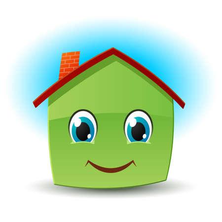 ojos caricatura: Casa sonriente