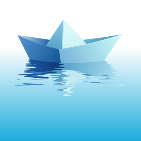 toy boat: Paper ship on azure water Illustration