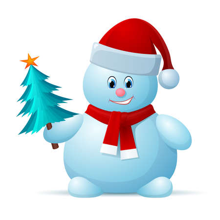 Snowman with Santa Cap and Christmas Tree Vector