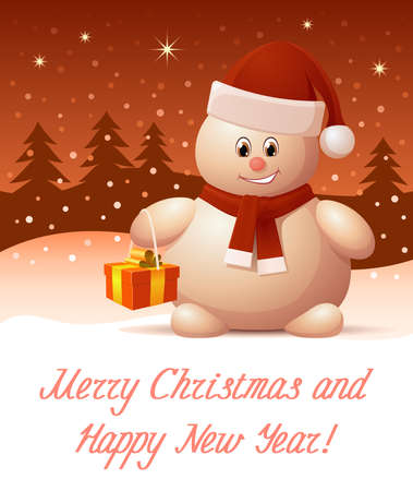 smily: Merry Christmas and Happy New Year greeting card
