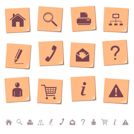 Web icons on memo notes 1 Vector