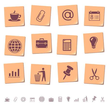 rekenmachine: Web iconen op memo notities 2 Stock Illustratie