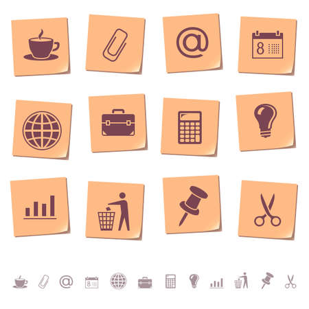pushpins: Web icons on memo notes 2 Illustration