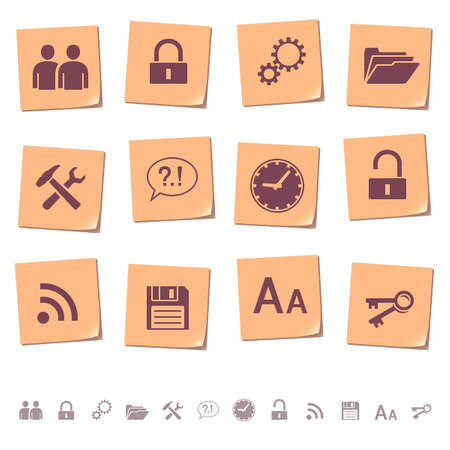 diskette: Web icons on memo notes 3 Illustration