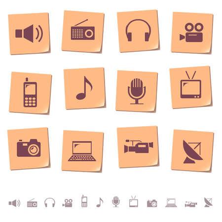 earbud: Los iconos de multimedia y de telecomunicaciones en notas de notas Vectores