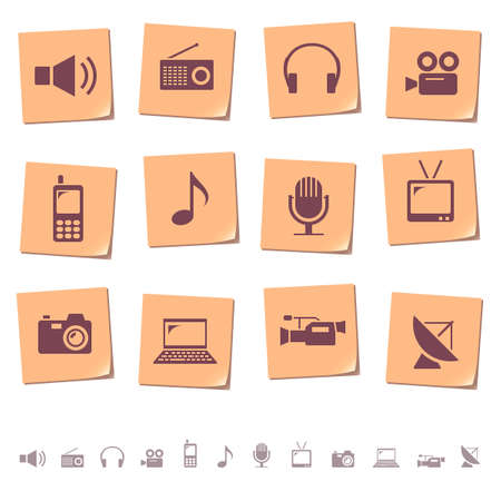 telecom: Multimedia and telecom icons on memo notes