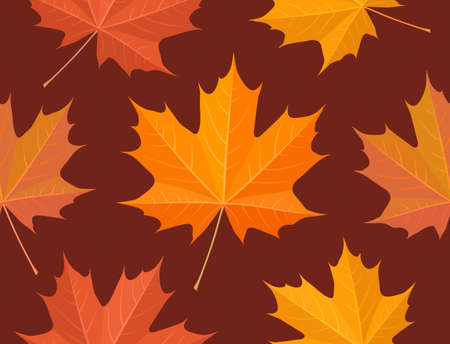 Maple leaves seamless wallpaper pattern Vector
