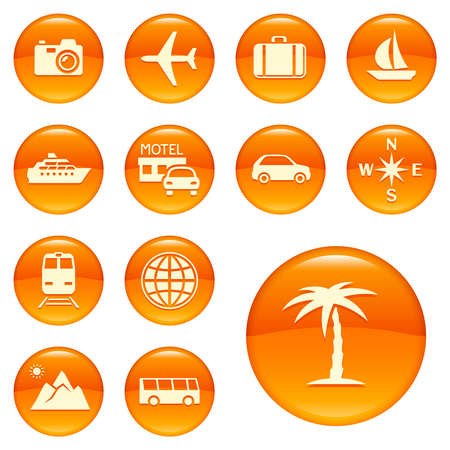 travel icons: Travel icons on orange buttons