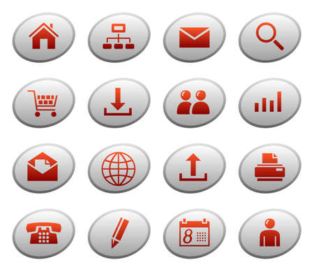 Web icons on ellipse buttons 1 Vector