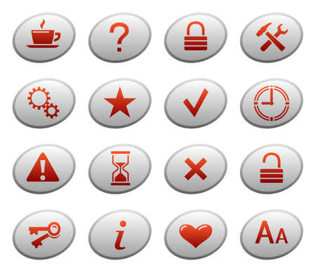 Web icons on ellipse buttons 2 Stock Vector - 11661416
