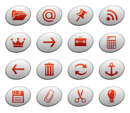 Web icons on ellipse buttons 3 Vector