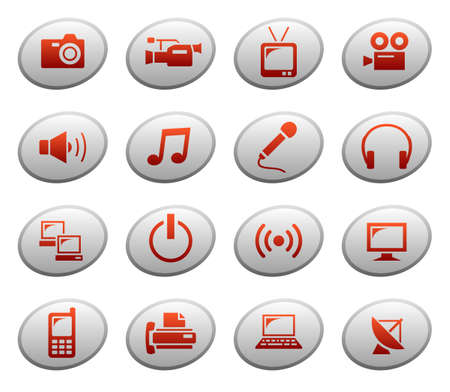 Multimedia icons on ellipse buttons Vector