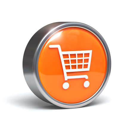 Shopping cart icon on 3D button Stock Photo - 11661453