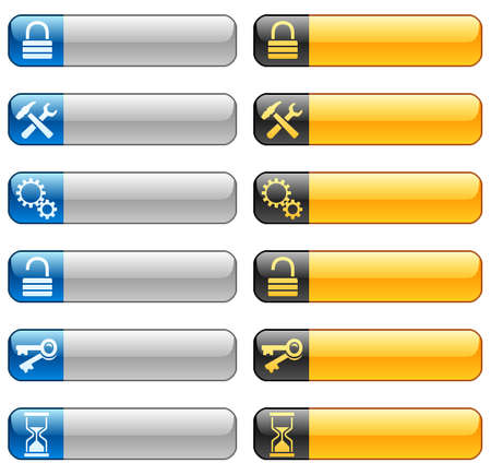 Banner buttons with web icons 7 Vector