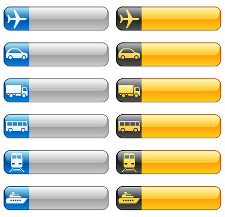 Banner buttons with transport icons Vettoriali