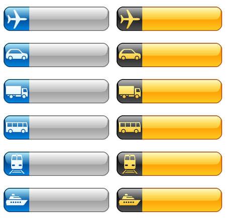 Boutons de bannière avec des icônes de transport