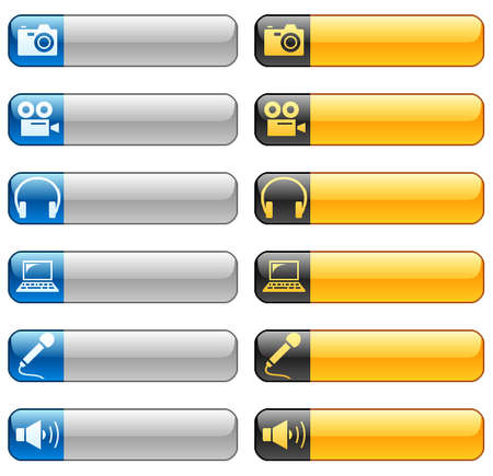 Banner buttons with multimedia icons Illustration
