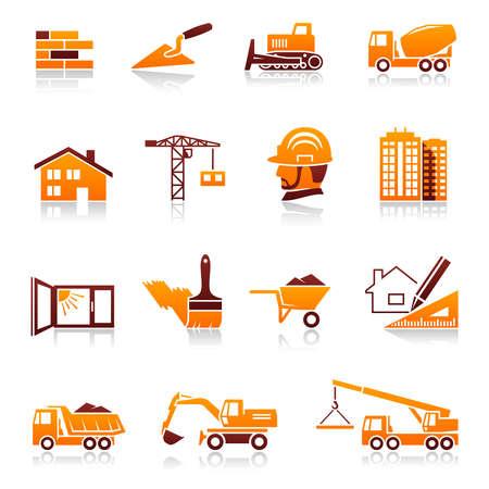 экскаватор: Строительство и реальный набор иконок недвижимости Иллюстрация