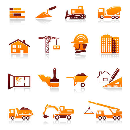 heavy construction: Construction and real estate icon set Illustration