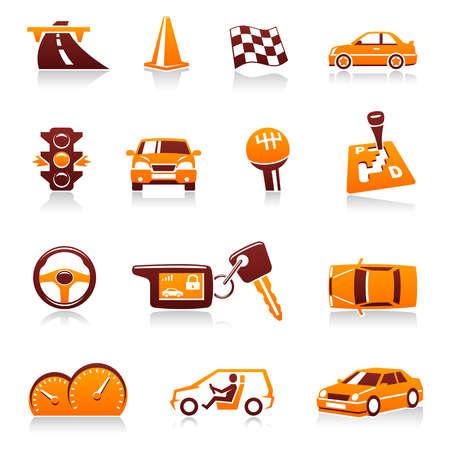 tacometro: Conjunto de iconos del autom�vil Vectores