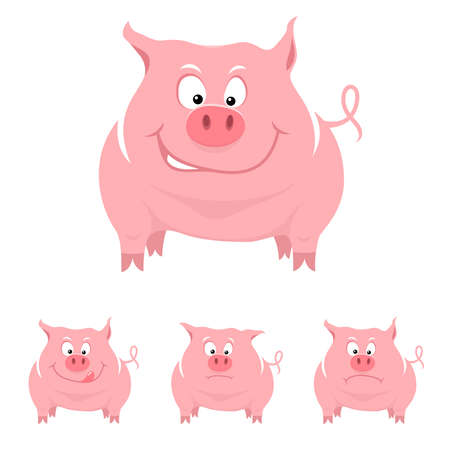 Funny cartoon pig with various emotions Vector