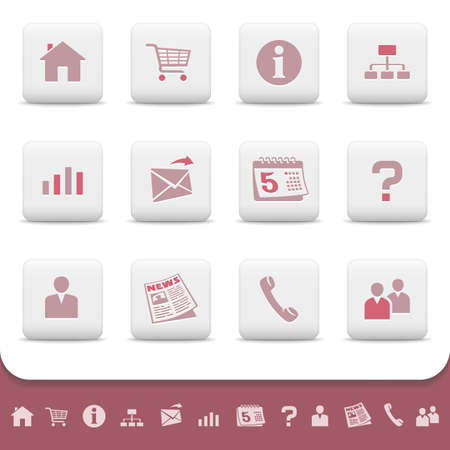 Professional web icons on white buttons
