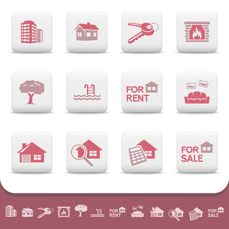 Professional real estate business icon set Vector