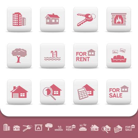 housing search: Professionale immobiliare aziendale set di icone