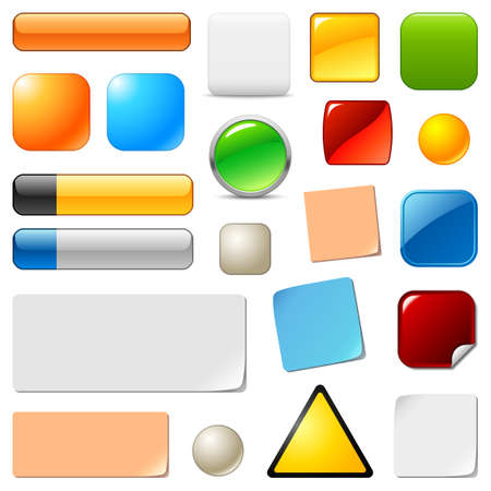 Blank web buttons and stickers templates set Illustration