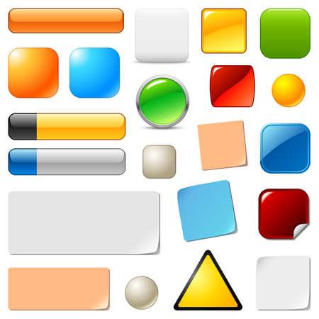 triangle button: Botones en blanco y plantillas web calcoman�as establecer Vectores
