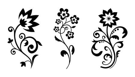 Silhouettes of abstract vintage flowers