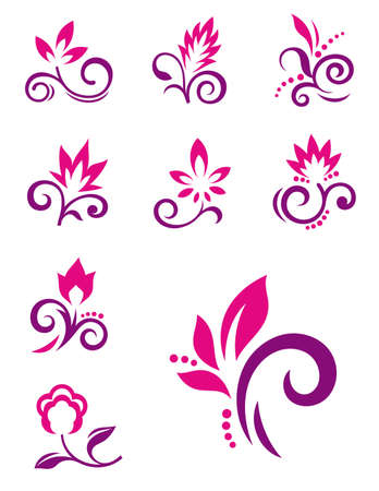 flower silhouette: Floral elements, icons of abstract flowers Illustration