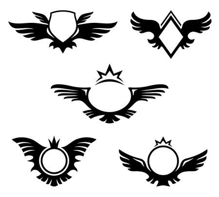Wings shaped emblems, coats of arms with copyspace