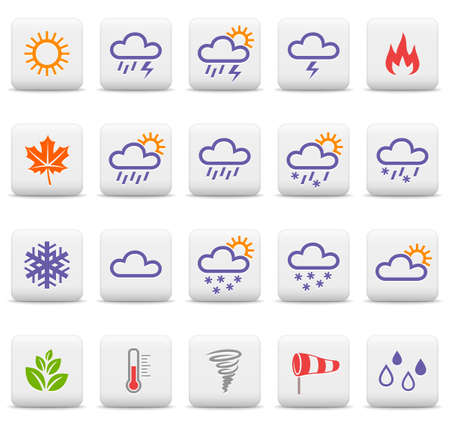 Weather and seasons icon set Vector